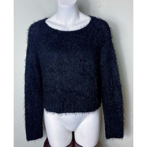 Topshop Black Cropped Eyelash Fuzzy Knit Sweater